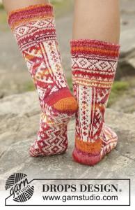 Gebreide sokken met Noors patroon