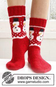 Sokken breien met sneeuwpop patroon