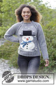 Kersttrui met sneeuwpop breien