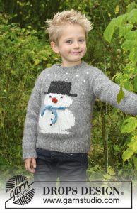 Kersttrui voor kinderen breien met sneeuwpop