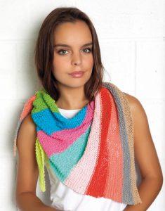 Veelkleurige katoenen sjaal breien